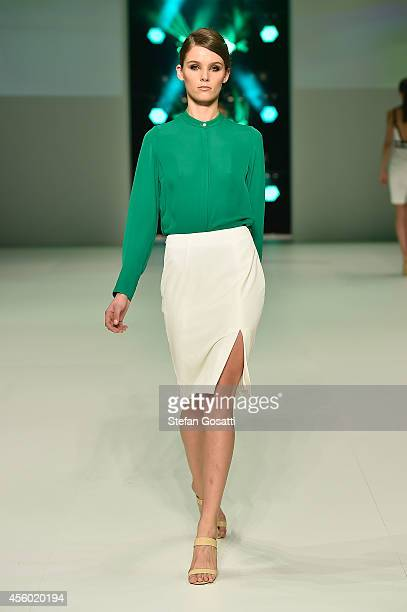 A model walks the runway at the Betty Tran show during MB Presents Australian Style show during MercedesBenz Fashion Festival Sydney at Sydney Town...
