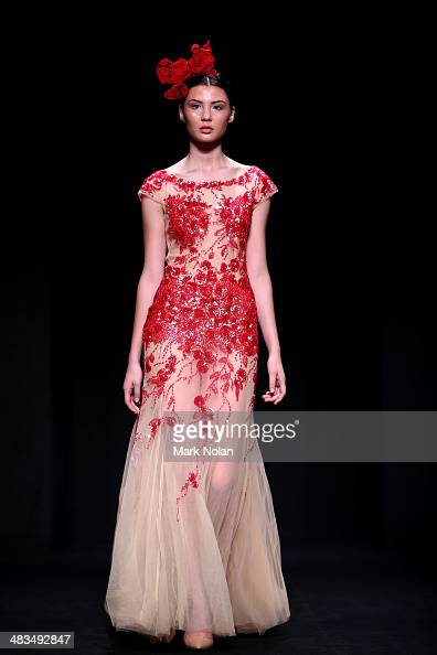 A model walks the runway at the Betty Tran show during MercedesBenz Fashion Week Australia 2014 at Carriageworks on April 9 2014 in Sydney Australia