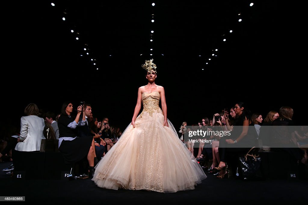 A model walks the runway at the Betty Tran show during Mercedes-Benz Fashion Week Australia 2014 at Carriageworks on April 9, 2014 in Sydney, Australia.