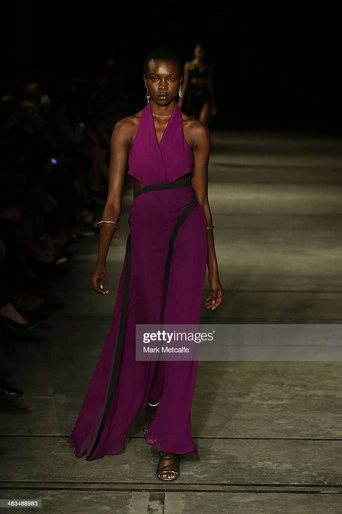 A model walks the runway at the Bianca Spender show during Mercedes-Benz Fashion Week Australia 2014 at Biennale Bay, 22-24 Carriageworks on April 9, 2014 in Sydney, Australia.