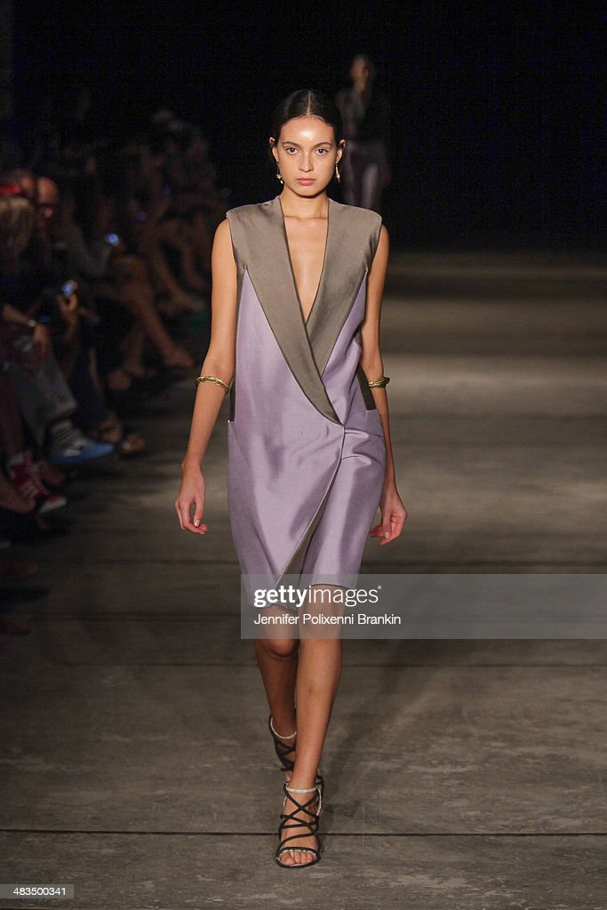 A model walks the runway at the Bianca Spender show during Mercedes-Benz Fashion Week Australia 2014 at Carriageworks on April 9, 2014 in Sydney, Australia.