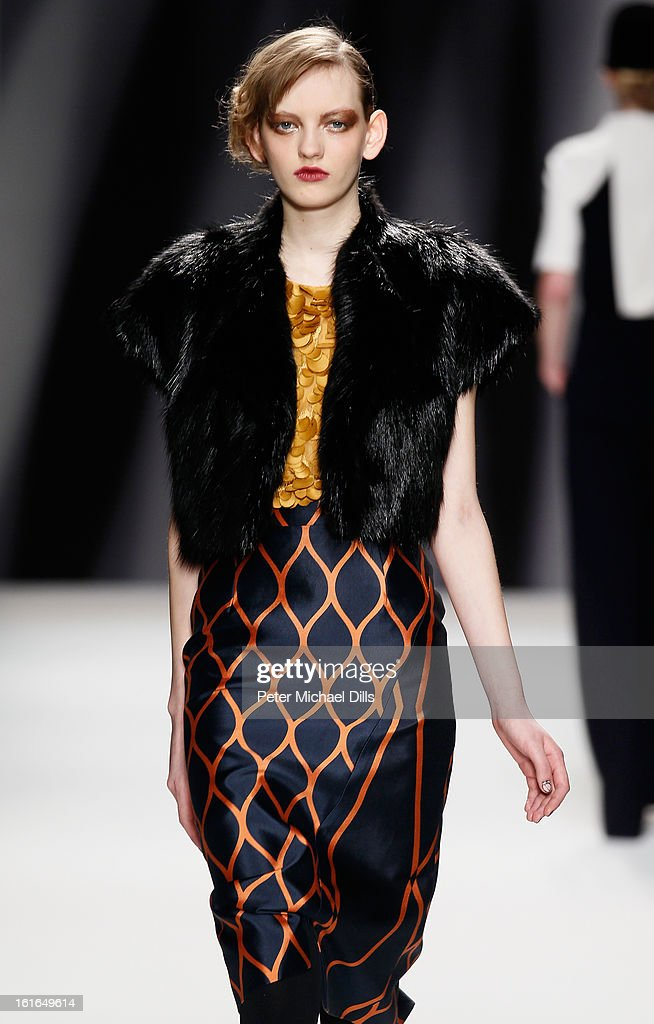 A model walks the runway at the Bibhu Mohapatra Fall 2013 fashion show during Mercedes-Benz Fashion Week at The Studio at Lincoln Center on February 13, 2013 in New York City.
