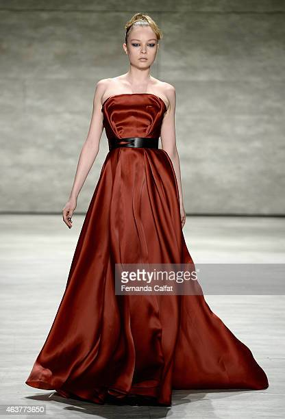 A model walks the runway at the Bibhu Mohapatra fashion show during MercedesBenz Fashion Week Fall at The Pavilion at Lincoln Center on February 18...