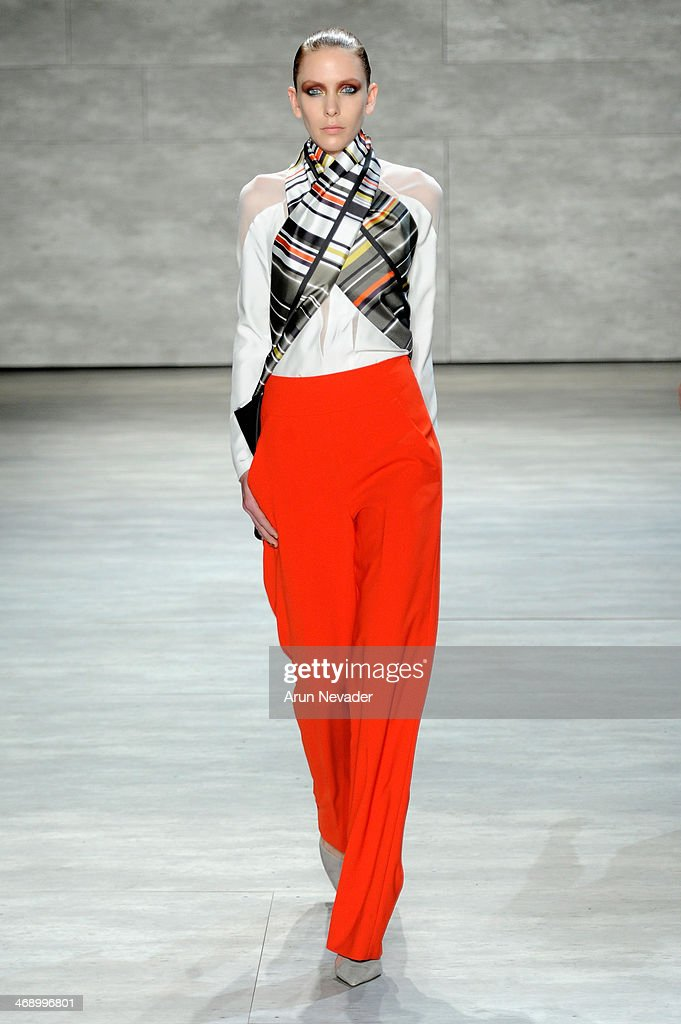A model walks the runway at the Bibhu Mohapatra fashion show during Mercedes-Benz Fashion Week Fall 2014 on February 12, 2014 in New York City.
