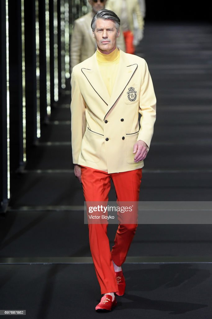 A model walks the runway at the Billionaire show during Milan Men's Fashion Week Spring/Summer 2018 on June 19, 2017 in Milan, Italy.