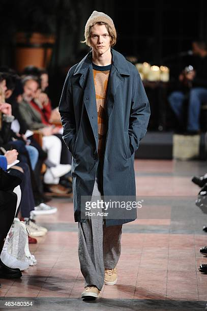 Model walks the runway at the Billy Reid Men's show during MercedesBenz Fashion Week Fall 2015 at The Bowery Hotel on February 14 2015 in New York...