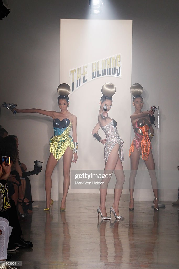 A model walks the runway at The Blonds fashion show during MADE Fashion Week Spring 2014 at Milk Studios on September 11, 2013 in New York City.
