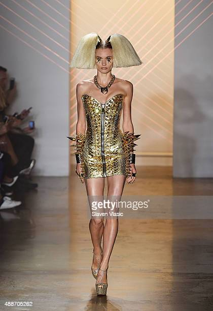 A model walks the runway at The Blonds fashion show during Spring 2016 MADE Fashion Week at Milk Studios on September 16 2015 in New York City