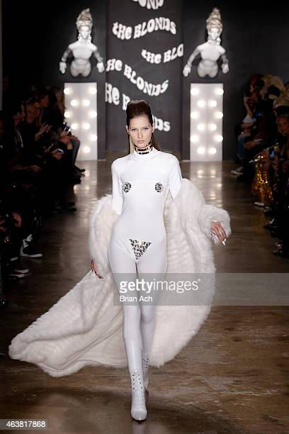 A model walks the runway at The Blonds show during MercedesBenz Fashion Week Fall 2015 at Milk Studios on February 18 2015 in New York City