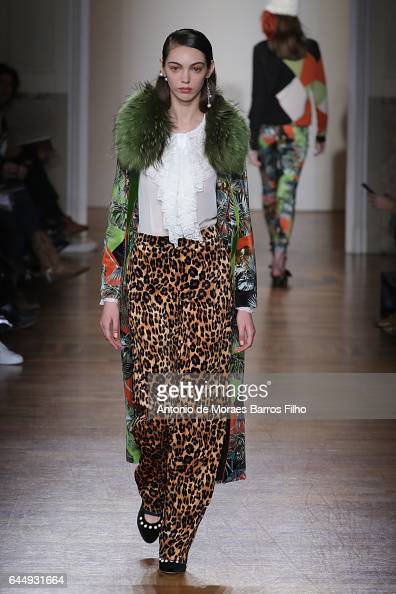 A model walks the runway at the Blugirl show during Milan Fashion Week Fall/Winter 2017/18 on February 24 2017 in Milan Italy