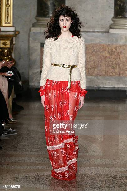 A model walks the runway at the Blugirl show during the Milan Fashion Week Autumn/Winter 2015 on February 26 2015 in Milan Italy