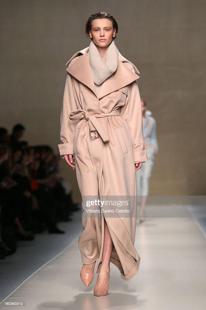 A model walks the runway at the Blumarine fashion show during Milan Fashion Week Womenswear Fall/Winter 2013/14 on February 22, 2013 in Milan, Italy.