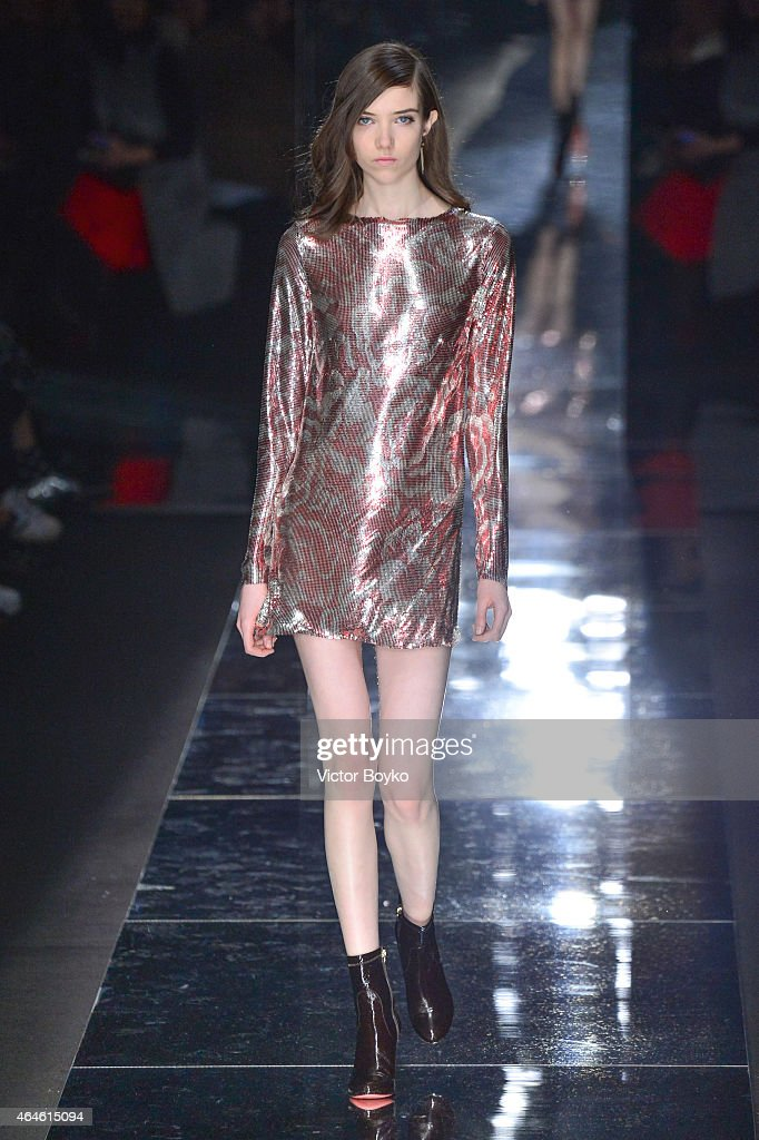 A model walks the runway at the Blumarine show during the Milan Fashion Week Autumn/Winter 2015 on February 27 2015 in Milan Italy