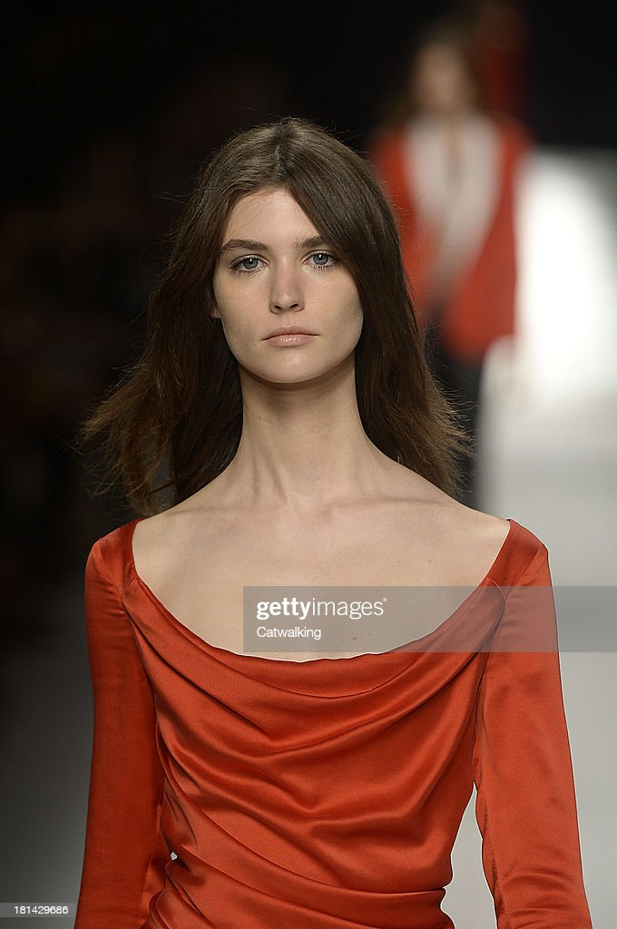 A model walks the runway at the Blumarine Spring Summer 2014 fashion show during Milan Fashion Week on September 20, 2013 in Milan, Italy.