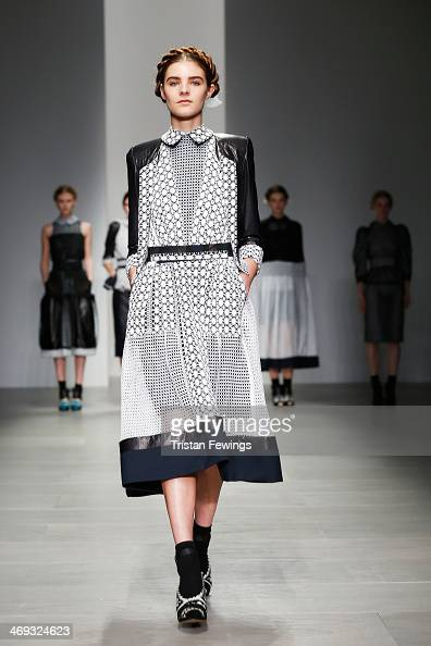 A model walks the runway at the Bora Aksu show at London Fashion Week AW14 at Somerset House on February 14 2014 in London England