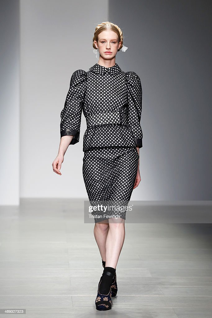 A model walks the runway at the Bora Aksu show at London Fashion Week AW14 at Somerset House on February 14, 2014 in London, England.