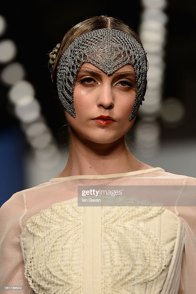 A model walks the runway at the Bora Aksu show during London Fashion Week Fall/Winter 2013/14 at Somerset House on February 15, 2013 in London, England.