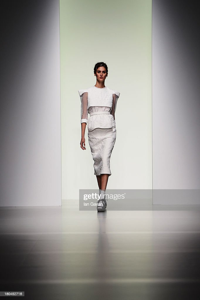 A model walks the runway at the Bora Aksu show during London Fashion Week SS14 at Somerset House on September 13, 2013 in London, England.