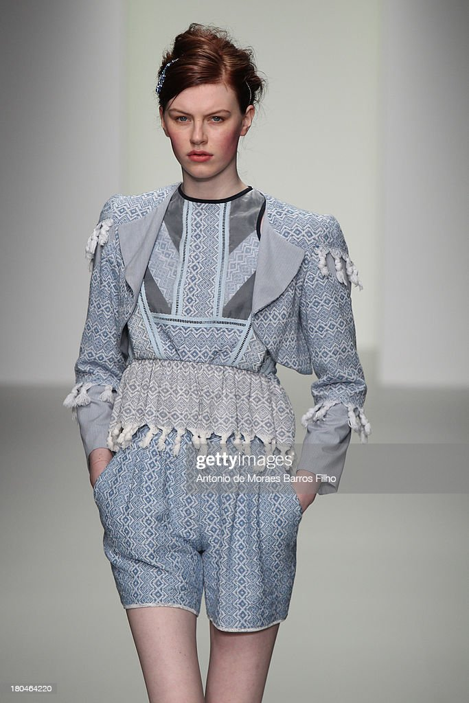 A model walks the runway at the Bora Aksu show during London Fashion Week SS14 at BFC Courtyard Showspace on September 13, 2013 in London, England.