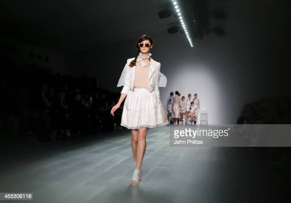 A model walks the runway at the Bora Aksu show during London Fashion Week Spring Summer 2015 at Somerset House on September 12 2014 in London England