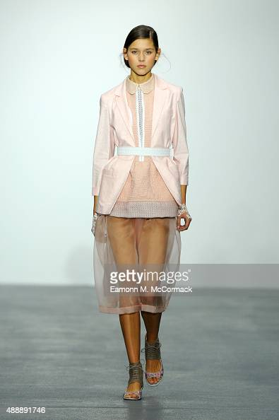 A model walks the runway at the Bora Aksu show during London Fashion Week Spring/Summer 2016 on September 18 2015 in London England