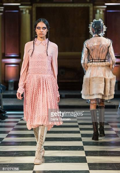 A model walks the runway at the Bora Aksu show during London Fashion Week Autumn/Winter 2016/17 at on February 19 2016 in London England