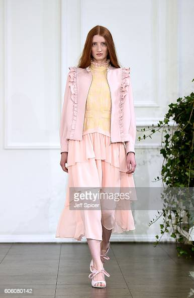 A model walks the runway at the Bora Aksu show during London Fashion Week Spring/Summer collections 2017 on September 16 2016 in London United Kingdom