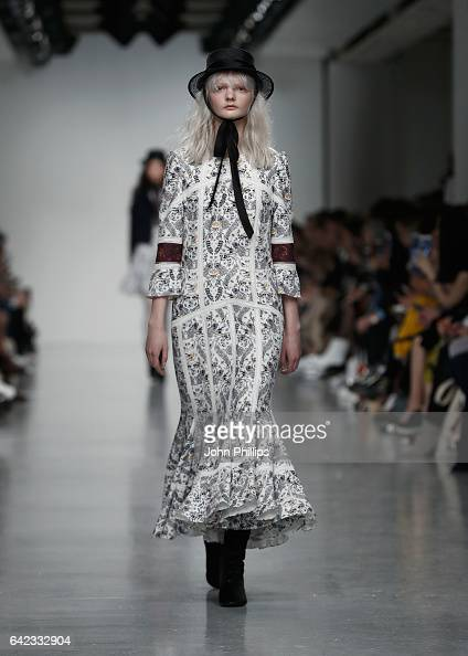 A model walks the runway at the Bora Aksu show during the London Fashion Week February 2017 collections on February 17 2017 in London England