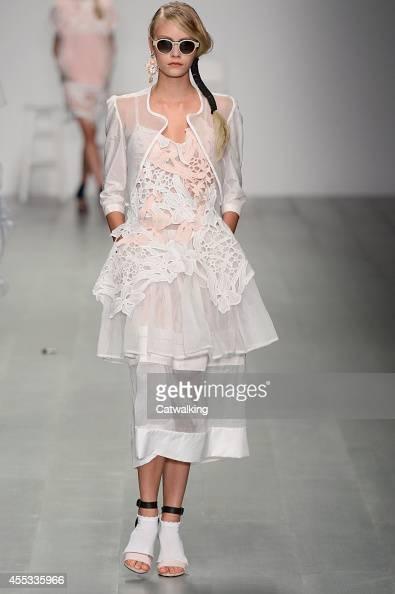 A model walks the runway at the Bora Aksu Spring Summer 2015 fashion show during London Fashion Week on September 12 2014 in London United Kingdom