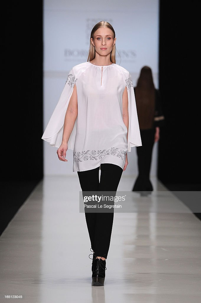 A model walks the runway at the Borodulins show during Mercedes-Benz Fashion Week Russia Fall/Winter 2013/2014 at Manege on March 31, 2013 in Moscow, Russia.