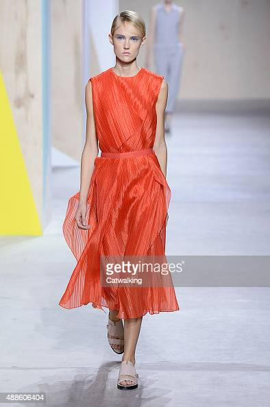 A model walks the runway at the Boss Spring Summer 2016 fashion show during New York Fashion Week on September 16 2015 in New York United States
