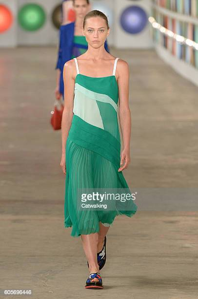 A model walks the runway at the Boss Women Spring Summer 2017 fashion show during New York Fashion Week on September 14 2016 in New York United States