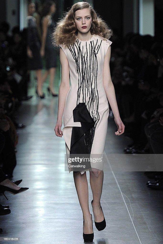 A model walks the runway at the Bottega Veneta Autumn Winter 2013 fashion show during Milan Fashion Week on February 23, 2013 in Milan, Italy.