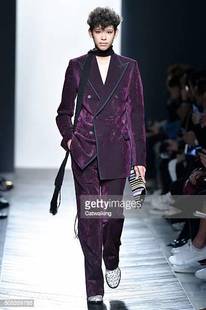 A model walks the runway at the Bottega Veneta Autumn Winter 2016 fashion show during Milan Menswear Fashion Week on January 17 2016 in Milan Italy