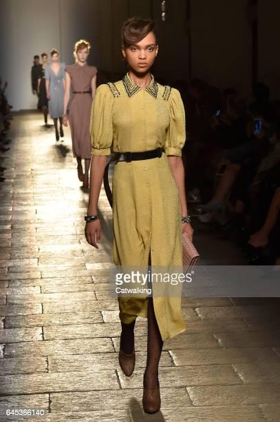 A model walks the runway at the Bottega Veneta Autumn Winter 2017 fashion show during Milan Fashion Week on February 25 2017 in Milan Italy
