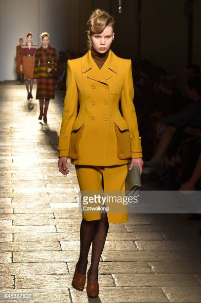 A model walks the runway at the Bottega Veneta Autumn Winter 2017 fashion show during Milan Fashion Week on February 25 2017 in Milan Italy