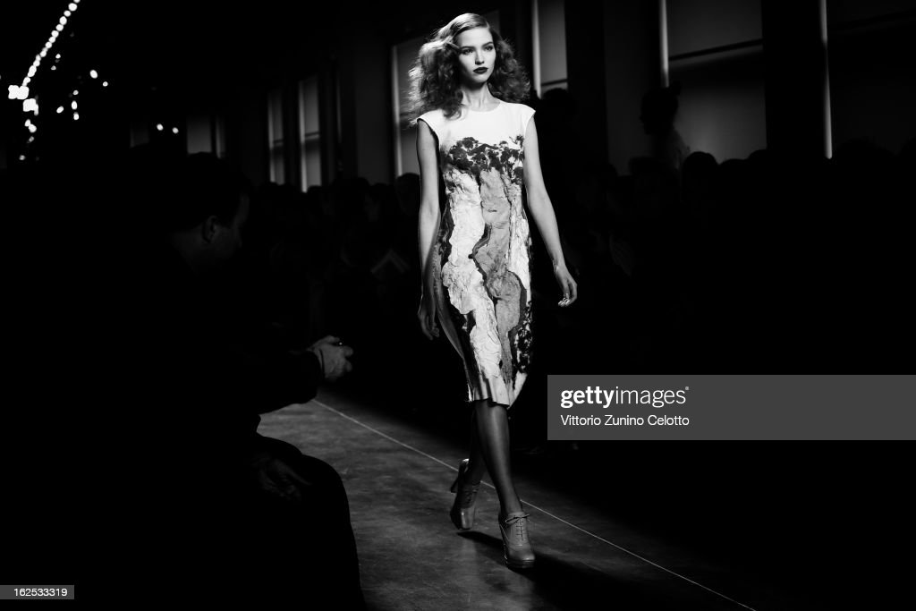 A model walks the runway at the Bottega Veneta fashion show as part of Milan Fashion Week Womenswear Fall/Winter 2013/14 on February 23, 2013 in Milan, Italy.