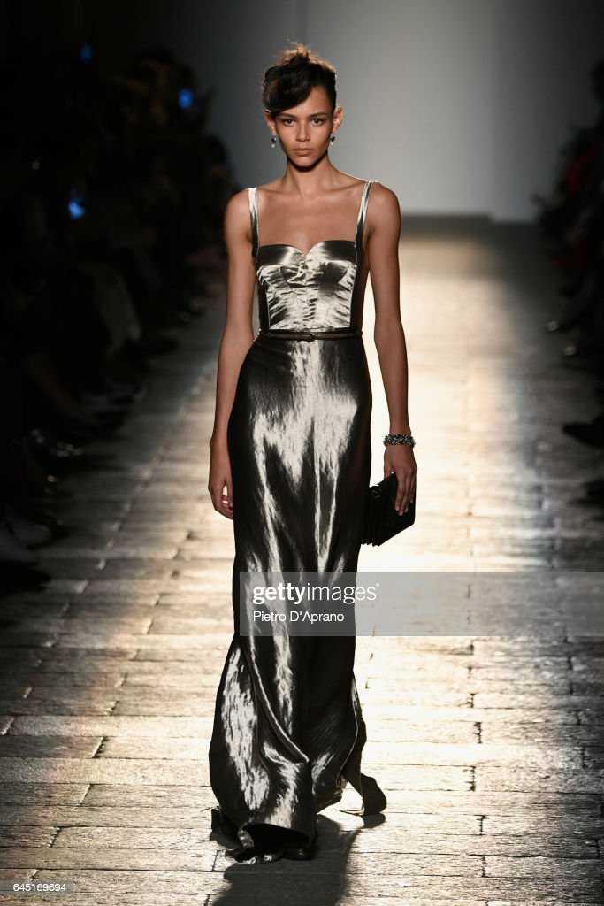 A model walks the runway at the Bottega Veneta show during Milan Fashion Week Fall/Winter 2017/18 on February 25, 2017 in Milan, Italy.