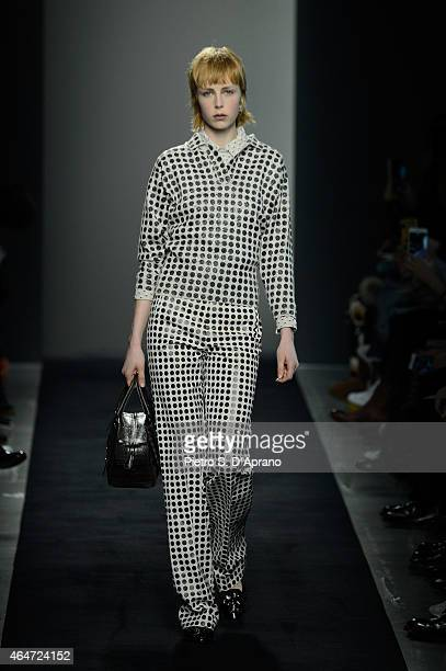 A model walks the runway at the Bottega Veneta show during the Milan Fashion Week Autumn/Winter 2015 on February 28 2015 in Milan Italy
