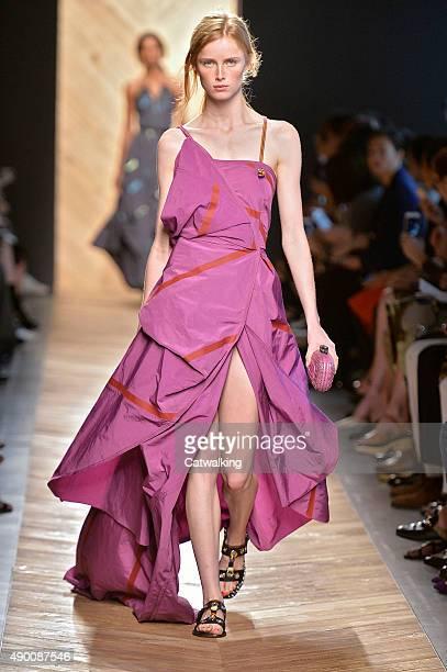 A model walks the runway at the Bottega Veneta Spring Summer 2016 fashion show during Milan Fashion Week on September 26 2015 in Milan Italy
