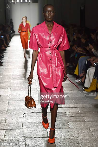 A model walks the runway at the Bottega Veneta Spring Summer 2017 fashion show during Milan Fashion Week on September 24 2016 in Milan Italy