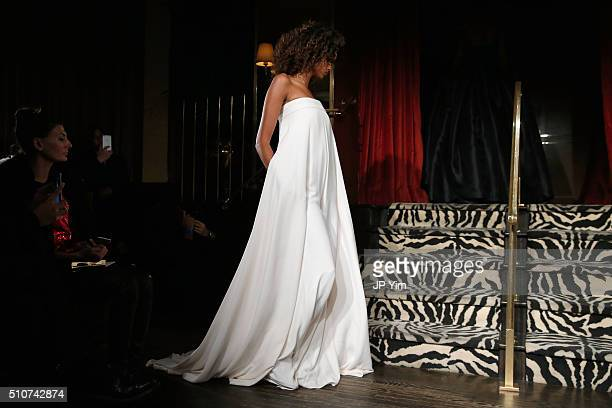 A model walks the runway at the Brandon Maxwell A/W 2016 fashion show during New York Fashion Week at The Monkey Bar on February 16 2016 in New York...