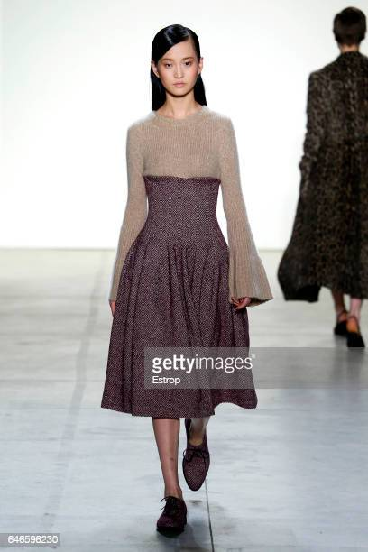 A model walks the runway at the Brock Collection designed by Laura Vassar Kristopher Brock show during the New York Fashion Week February 2017...