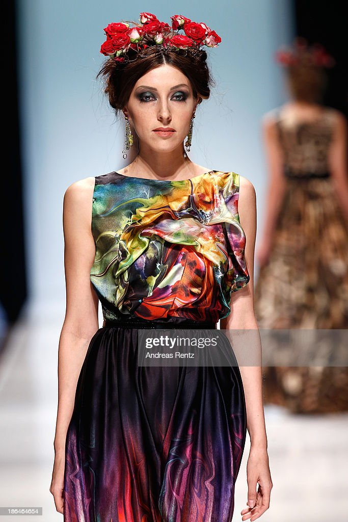 A model walks the runway at the Bunker Z show during Mercedes-Benz Fashion Week Russia S/S 2014 on October 31, 2013 in Moscow, Russia.