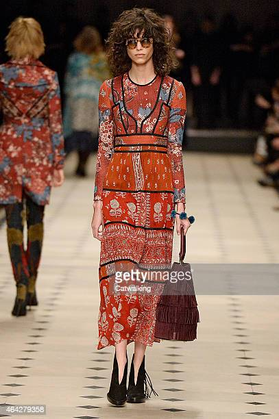A model walks the runway at the Burberry Prorsum Autumn Winter 2015 fashion show during London Fashion Week on February 23 2015 in London United...