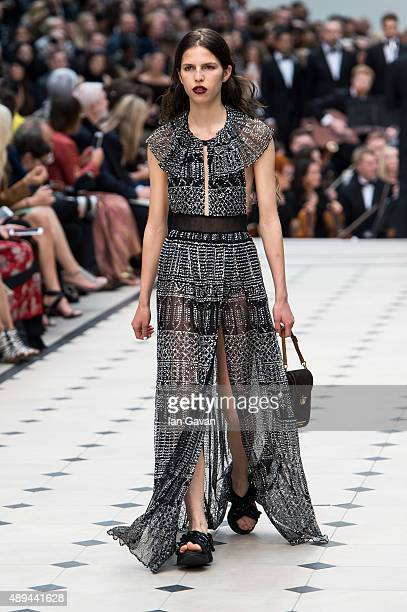 A model walks the runway at the Burberry Prorsum show during London Fashion Week Spring/Summer 2016/17 on September 21 2015 in London England