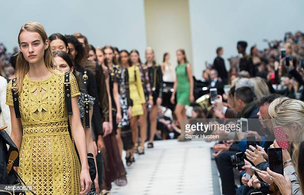 A model walks the runway at the Burberry Prorsum show during London Fashion Week Spring/Summer 2016 on September 21 2015 in London England