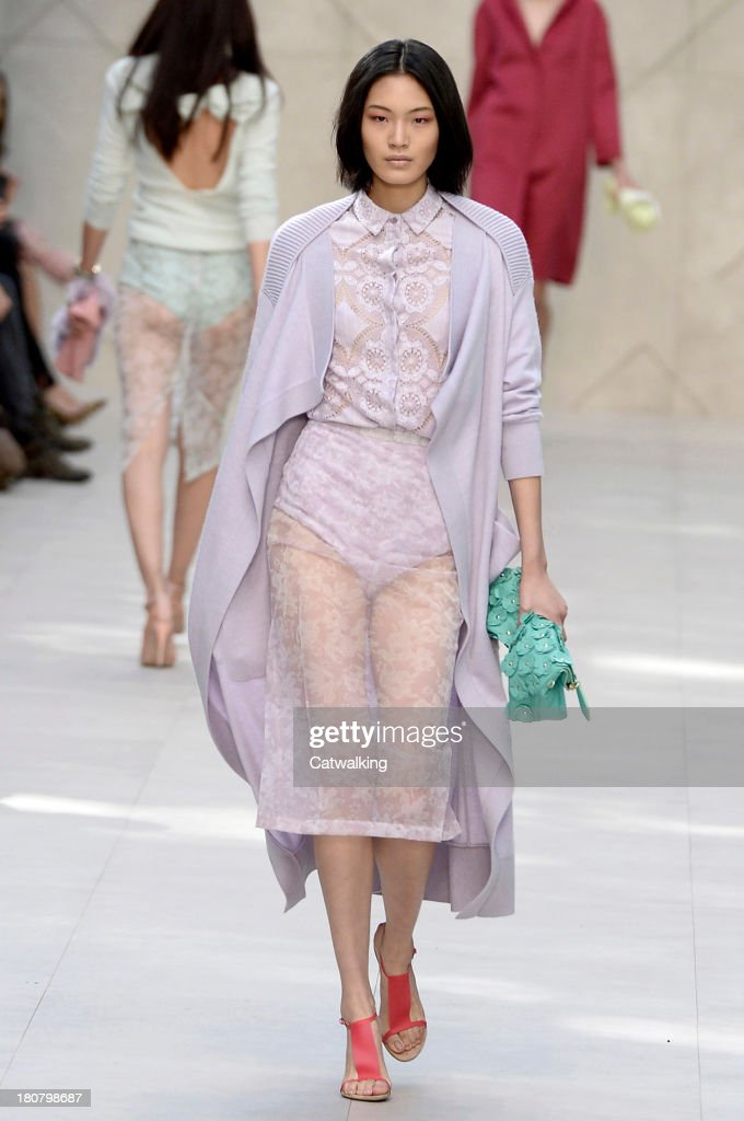 A model walks the runway at the Burberry Prorsum Spring Summer 2014 fashion show during London Fashion Week on September 16, 2013 in London, United Kingdom.