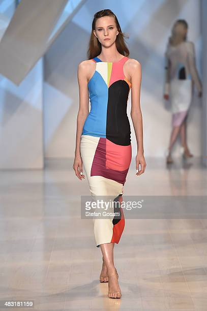 A model walks the runway at the By Johnny show during MercedesBenz Fashion Week Australia 2014 at Carriageworks on April 7 2014 in Sydney Australia