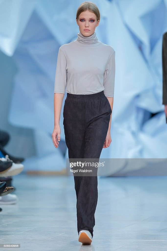 A model walks the runway at the by Magmalou / Elisabeth Stray Pedersen show during the Fashion Week Oslo Autumn/Winter 2016/2017 at the F5 Showcase Oslo on February 10, 2016 in Oslo, Norway.